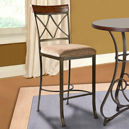 Powell Hamilton Cherry Bar Stool, Matte Pewter and Bronze Cherry Unfinished Bar Stool