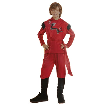 Boys Red Dragon Ninja Child Halloween Costume Hooded Top Pants & Waist - Ninja Sash