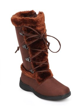 New Girl Little Angel Winter-866E Suede Fur Lace Up Zip Winter Boot Size
