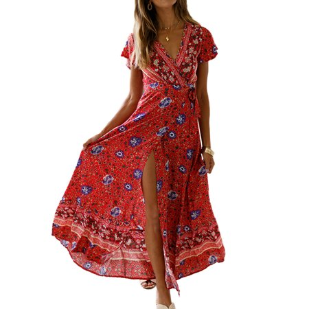 DYMADE Women's V Neck Split Floral Print Flowy Party Maxi - Decade Dress Up Ideas