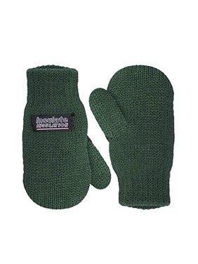 SANREMO Unisex Kids Toddler Knitted Fleece Lined Warm Winter Mittens (1-3 Years, Black)
