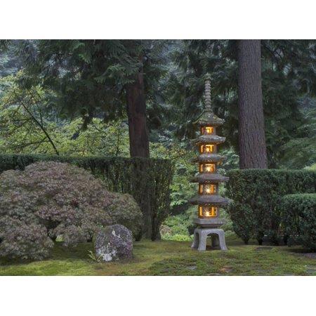 Stone Lantern Illuminated with Candles, Portland Japanese Garden, Oregon, USA Print Wall Art By William Sutton - Japanese Lanterns For Sale