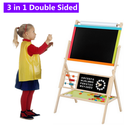 All-in-One Multifunction Kid's Art Easel Wooden Height Adjustable Standing Easel with Color Chalk, Mark Pen, Blackboard Eraser, White Board Rub ()