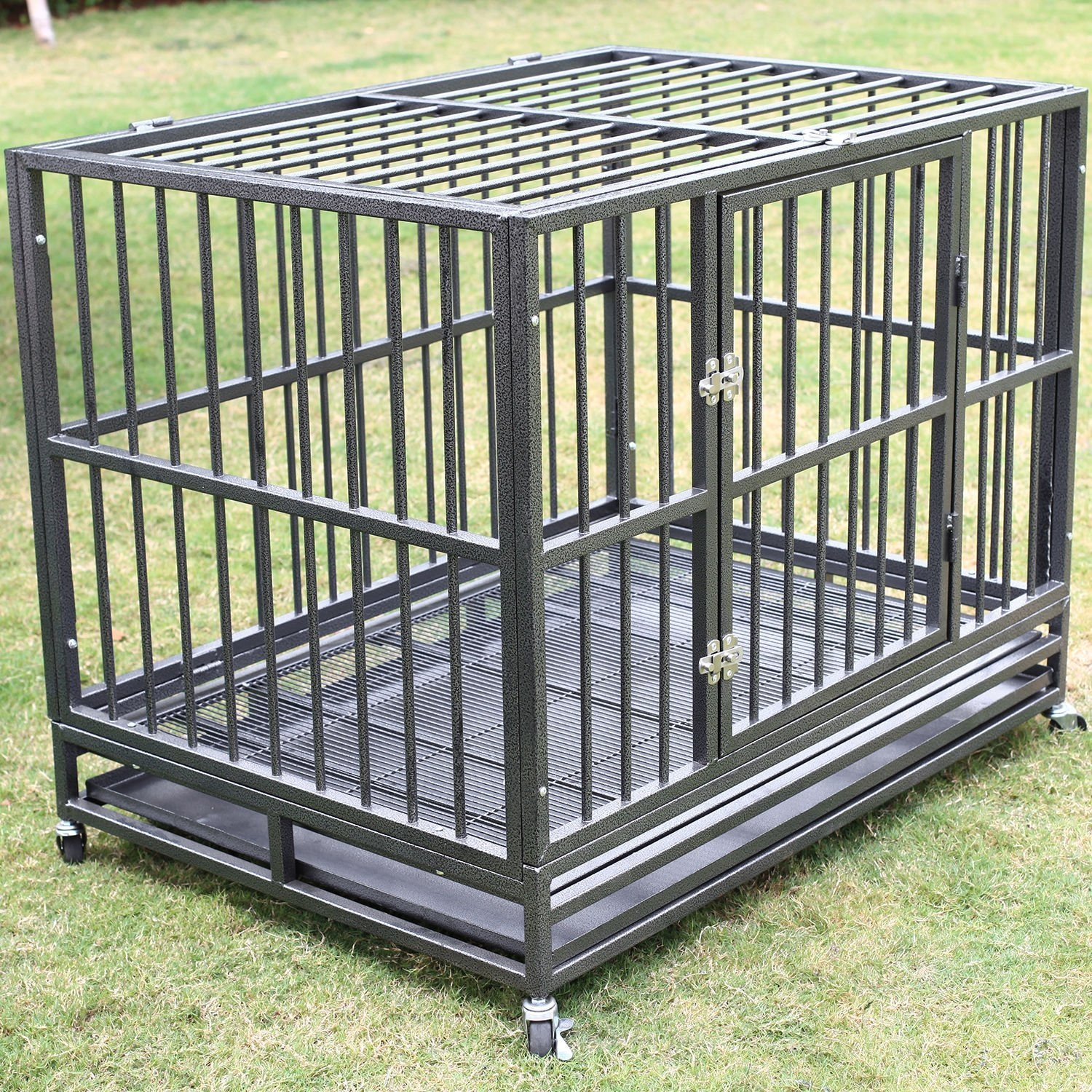 "New 42"" Heavy Duty Dog Cage Crate Kennel Metal Pet Enclosure Portable w/ Tray Silver"