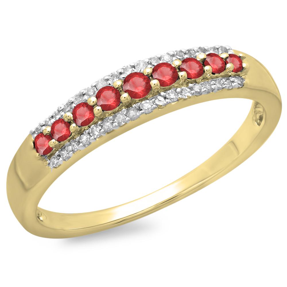 10K Gold Round Ruby & White Diamond Ladies Anniversary Wedding Band Stackable Ring