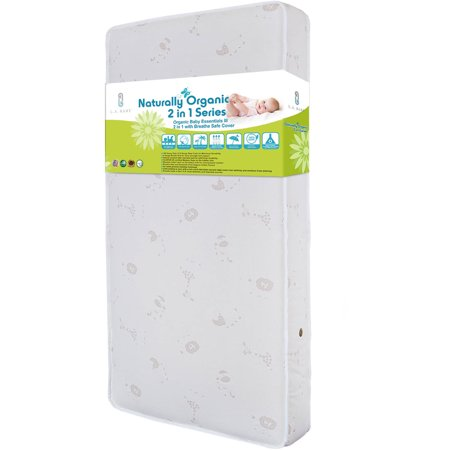 LA Baby Natural Sleep I Crib Mattress with Madison Jacquard Cover & Organic Cotton Layer, (Best Way For Baby To Sleep In Crib)