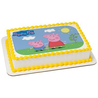 1/4 Sheet Peppa Pig-Sunny Days Edible Cake Image - Peppa Pig Cake Toppers