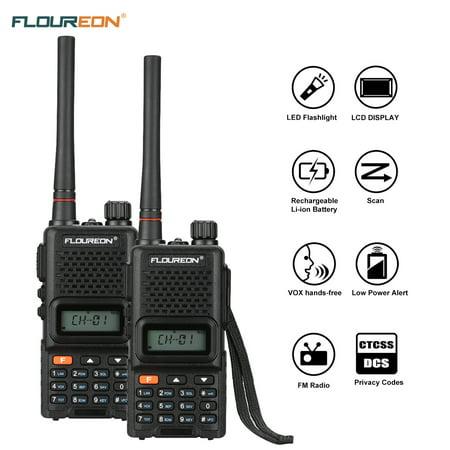 FLOUREON Walkie Talkies 99 Channel Handheld Wireless Phone 2 Way Radio 7 Miles for Supermarket Adults Kids NERF - 2Packs