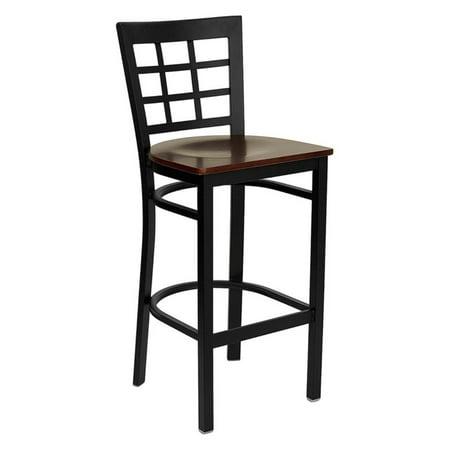 Flash Furniture 28.5 in. Hercules Window Back Wood Seat Restaurant Bar Stool - Black Black Wood Bar Stools