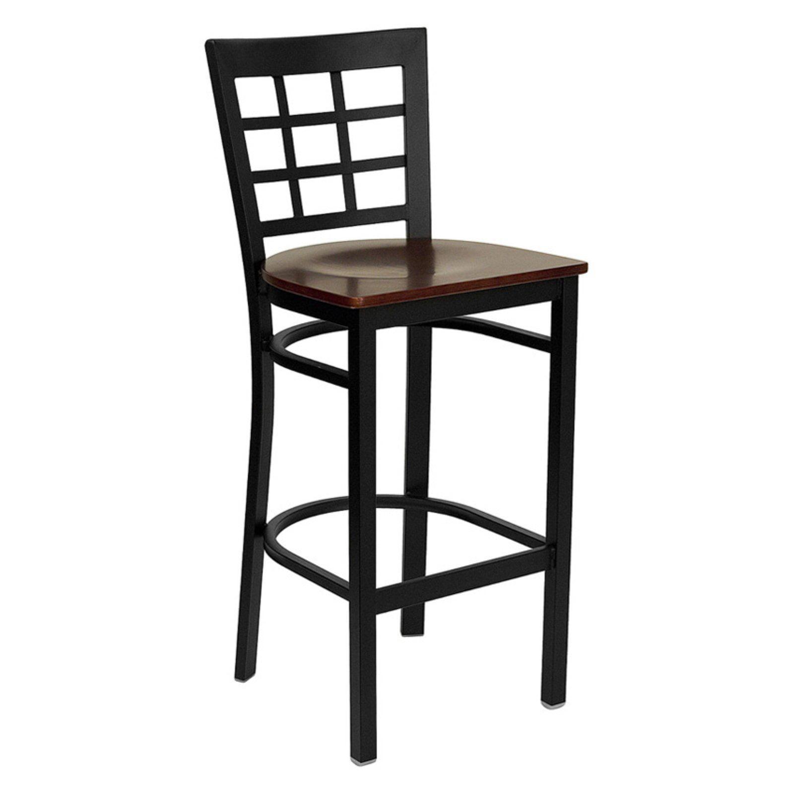Flash Furniture 28.5 in. Hercules Window Back Wood Seat Restaurant Bar Stool - Black