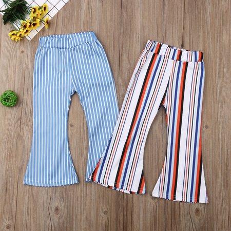 Kid Baby Girl Fashion Wide Leg Stripe Long Pants High Waist Flares Casual Trousers