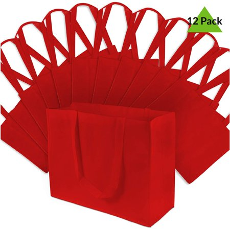 16x12x6  Large Red Reusable Gift Bags, Shopping Bags, Grocery Bags Large size red reusable gift bags measure 16 W x 12 H X 6 D and comes with 12 bags. Made from durable and reusable PPNW fabric. Great as grocery bags, retail shopping bags, large gift bags, event bags or as food servcie take out bags. Place a logo sticker on them to create your own randed bags.