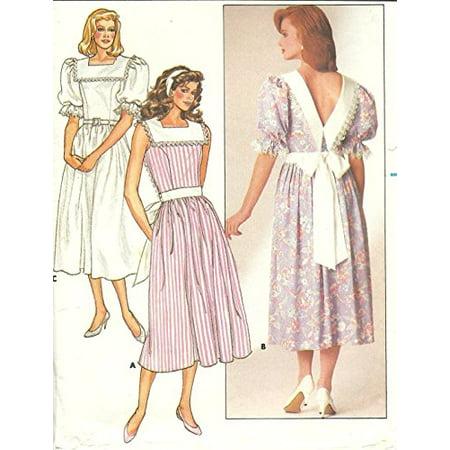 BUTTERICK 3675 pilgrim collar dress - Size 12-14-16 vintage 1980s Sewing