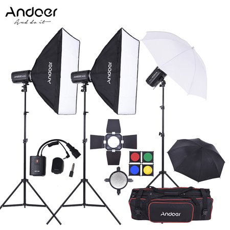 Andoer MD-300 900W (300W * 3) Studio Strobe Flash Light Kit with Light Stand Softbox Lambency Unbrella Barn Door Flash Trigger Carrying Bag for Video Shooting Location and Portrait