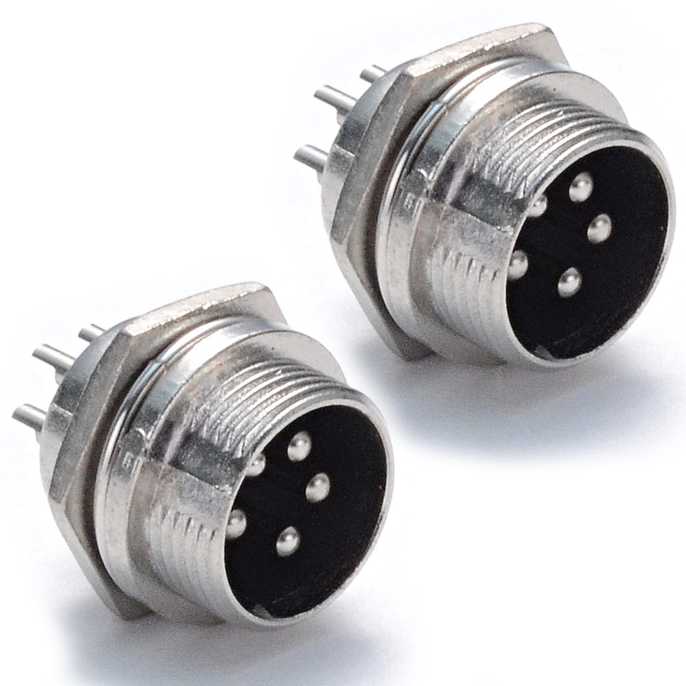 Seismic Audio 2 Pack NEW 5 Pin Male DIN Panel Connector Aviation Plugs - 5p Socket Plug Silver - SAPT22-2Pack