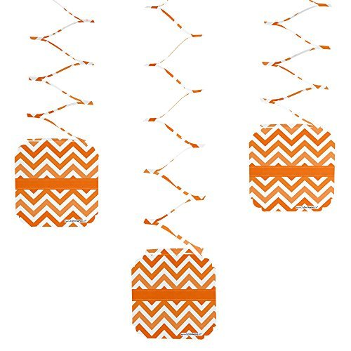 Chevron Orange - Party Hanging Decorations - 6 Count