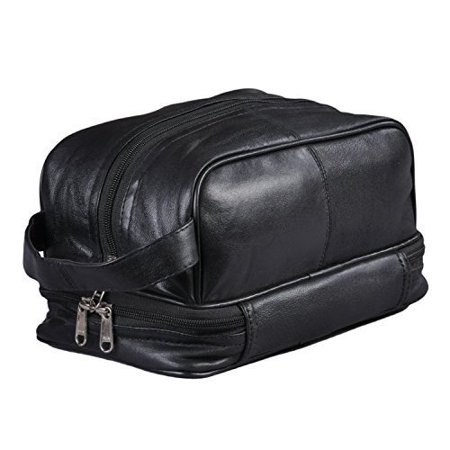37b72ee64591 New Leather Toiletry Bag Shaving Kit Travel Case Tote Make Up Zippered  Vanity - Walmart.com