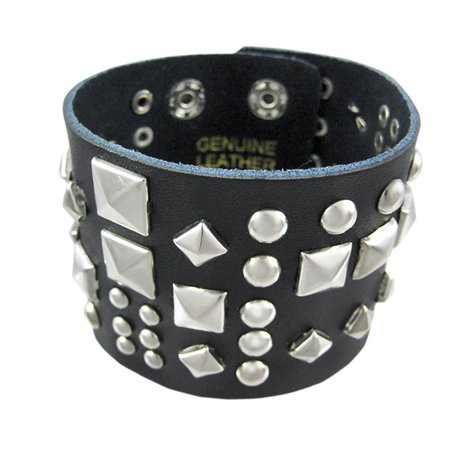 (Black Leather Double Snap Clasp Wristband Chrome Pyramid Studs Metal)