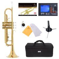 Mendini by Cecilio Bb Trumpet w/Tuner, Stand, Pocketbook, Deluxe Case and 1 Year Warranty, Gold Lacquer MTT-L+SD+PB+92D