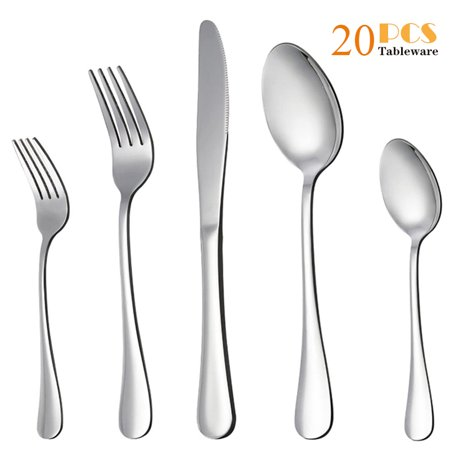 Moxinox 20-Piece Silverware Flatware Cutlery Set, Stainless Steel Utensils Service for 4, Include Knife/Fork/Spoon, Mirror Polished , Dishwasher Safe