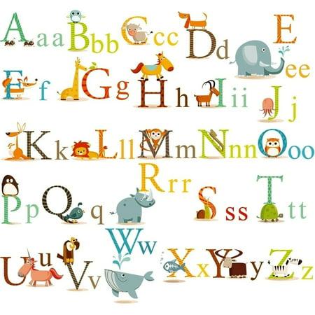Classic Animals Alphabet Nursery/Kids Room Peel & Stick Wall Decals