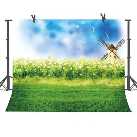 HelloDecor Polyster 7x5 feet Cartoon Windmill and White Flowers Photography Backdrop Children Newborn Photo Shooting Props Background Room Mural