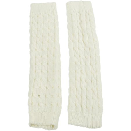 Exotic Identity Leg Warmers Cable Knit Vail Cold Weather Wear for Women - M - Cream](Neon Yellow Leg Warmers)