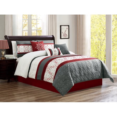 7-Pc Victoria French Lily Royal Floral Damask Embroidery Quilted Pleated Comforter Set Burgundy Red White Gray Queen ()