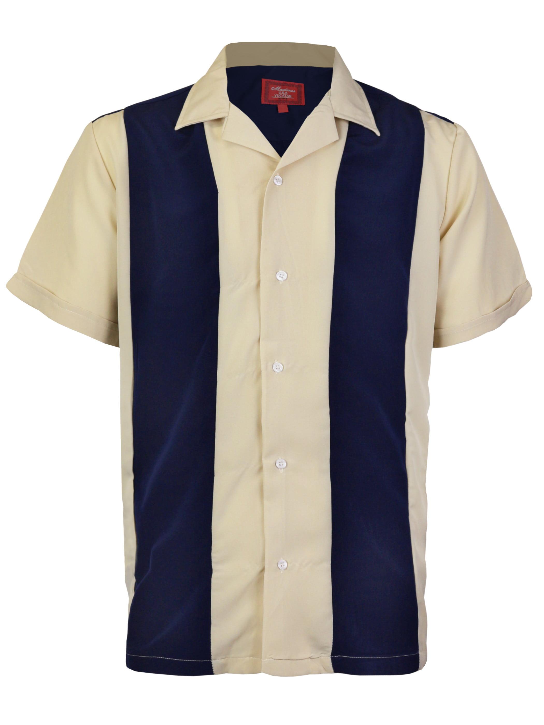Maximos Mens Retro Charlie Sheen Two Tone Guayabera Bowling Shirt