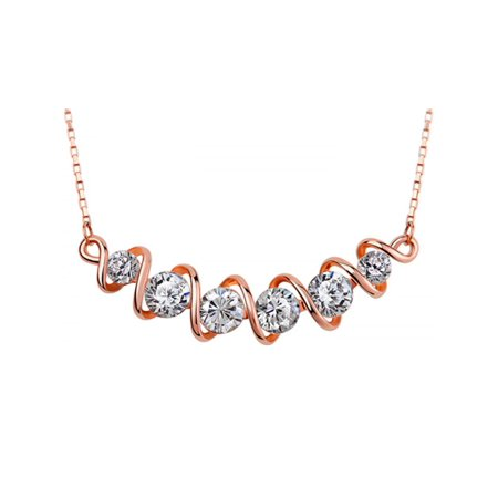 Rose Gold Tone Spiral Diamond Crystal Element Adjustable Chain Fashion Necklace