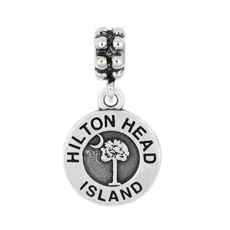 Sterling Silver Oxidized Travel Hilton Head Island South Carolina Dangle Bead (Sterling Silver Wolf Head Charm)