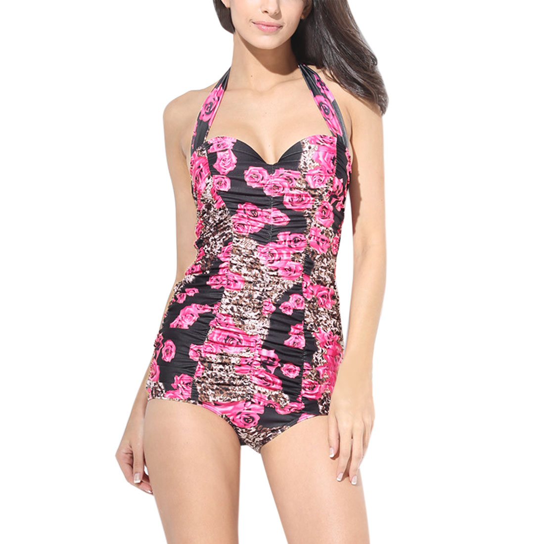 Women Floral Print Retro One-Piece Swimsuit Swimwear Bathing Suits Pink Blue