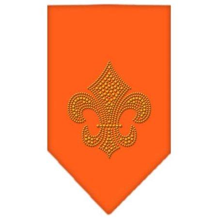 Fleur De Lis Gold Rhinestone Bandana Orange Large - Gold Bandanas