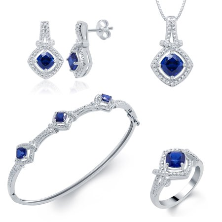 Elegant 7.00 Ct Created Cushion Shaped Blue Sapphire Gemstone 4pcs Necklace,Bangle,Ring and Earrings Set In 14K White Gold Plated Blue Sapphire Set Earrings