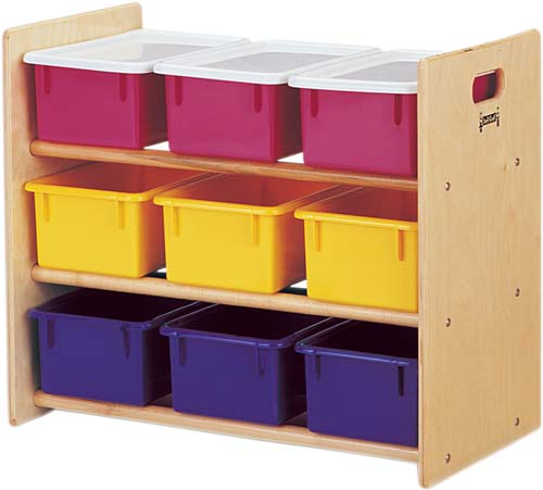 Tote Storage Rack - 9 Tray - With Colored Trays-Option:With Colored Trays