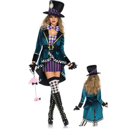 Leg Avenue Womens 4 PC Plus Size Delightful Hatter Costume