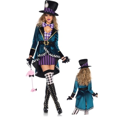 Leg Avenue Womens 4 PC Plus Size Delightful Hatter Costume - Plus Size Womens Skeleton Costume