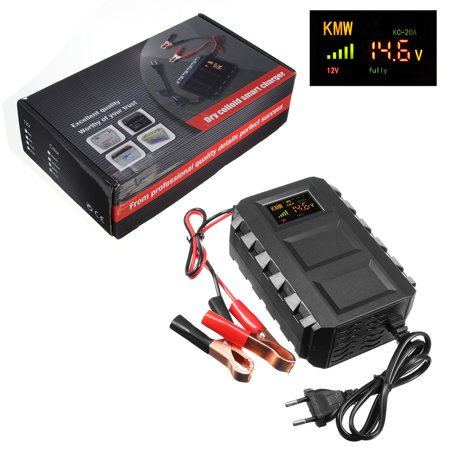 Digital Color LCD Display 12V AC 20A Smart Automotive Car Battery Dead Battery Engine Starter Jump Starter Power For 12V Car, Motorcycle Van Mower, Boat, RV, SUV,