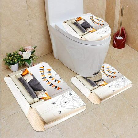 Halloween Interior Decorating (PUDMAD Interior House Decorated Holiday Halloween 3 Piece Bathroom Rugs Set Bath Rug Contour Mat and Toilet Lid)