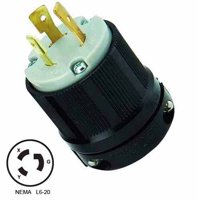 NEMA L6-20 Locking Plug, 20A 250V AC, 2 Pole 3 Wire, cUL Listed
