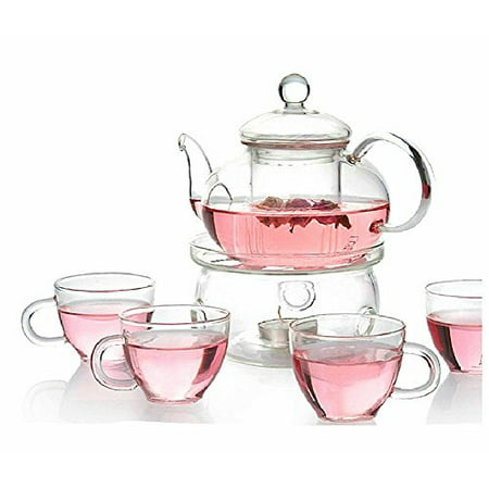 Personal Clear Heat Resistant Borosilicate Glass Teapot Tea Set & Infuser 400ml and 4 Handle Tea Cups