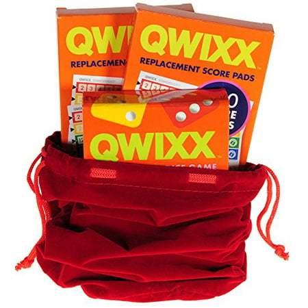 Deluxe Games and Puzzles QWIXX Fast Family Dice Game _ with 2 Replacement Score Pad Packs _ Bonus RED Velvet Drawstring Pouch _ Bundled Items - image 3 of 4