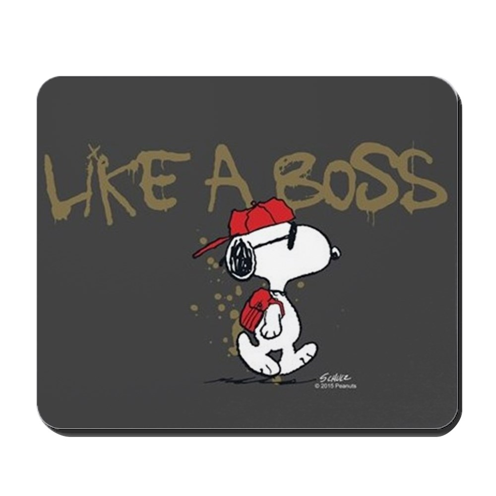 CafePress - Peanuts Snoopy Like A Boss - Non-slip Rubber Mousepad, Gaming Mouse Pad