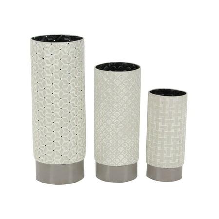 Decmode Set of 3 Contemporary 10, 13 and 17 Inch Latticed Cylindrical Iron Vases, (Lattice Vase)