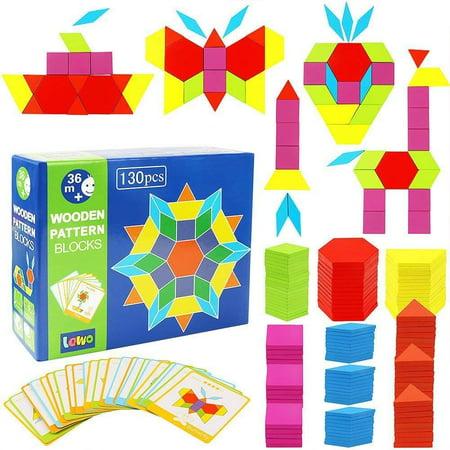 Lewo 130 PCS Wooden Pattern Blocks Geometric Shape Puzzles Classic Educational Toys Tangrams Set for Kids with 24 Design Cards (Classic Pattern Blocks) Classic Pattern Blocks - image 1 de 4