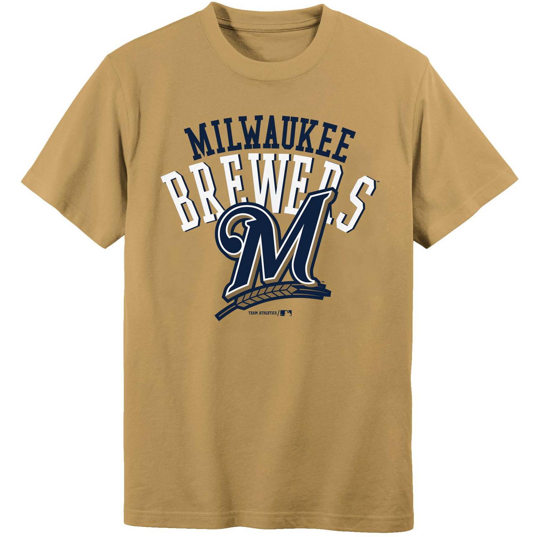 MLB Milwaukee Brewers Boys 4-18 Short Sleeve Alternate Color Tee Team