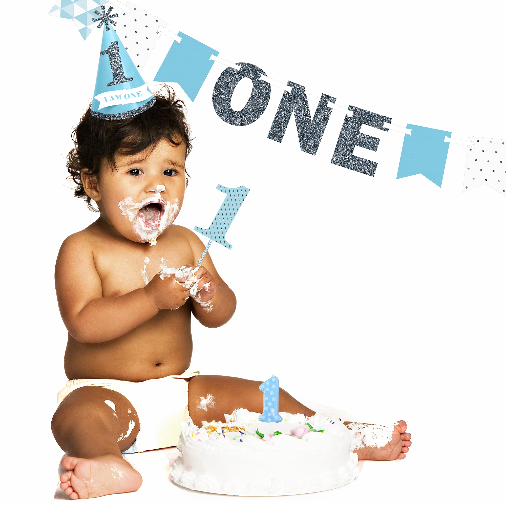 1st Birthday Boy Smash Cake Kit High Chair Decorations Walmartcom