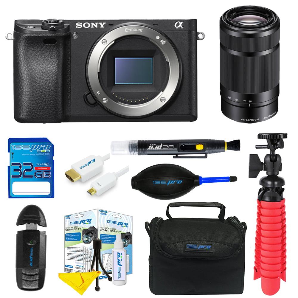Sony Alpha a6300 Mirrorless Digital Camera + Sony E 55-210mm f/4.5-6.3 OSS Lens + SD Card + Tripod + Pixi Basic Bundle Kit