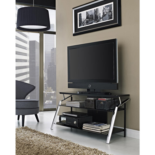 Altra Chrome And Black Glass Tv Stand For Tvs Up To 50 Walmart Com