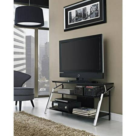 Altra Chrome And Black Glass Tv Stand For Tvs Up To 50 Walmart Com